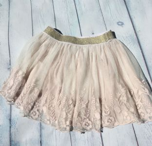 Mini Boden champagne coloured floral embroidered voile skirt age 6-7
